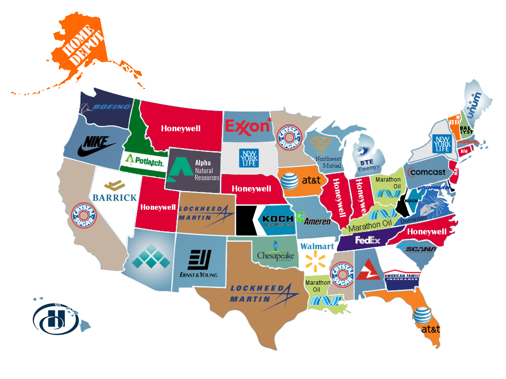 U.S. PIRG map of top corporate contributors to elections in each state.
