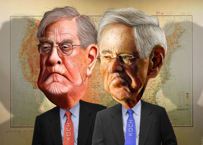 David and Charles Koch. Artwork (CC): DonkeyHotey.