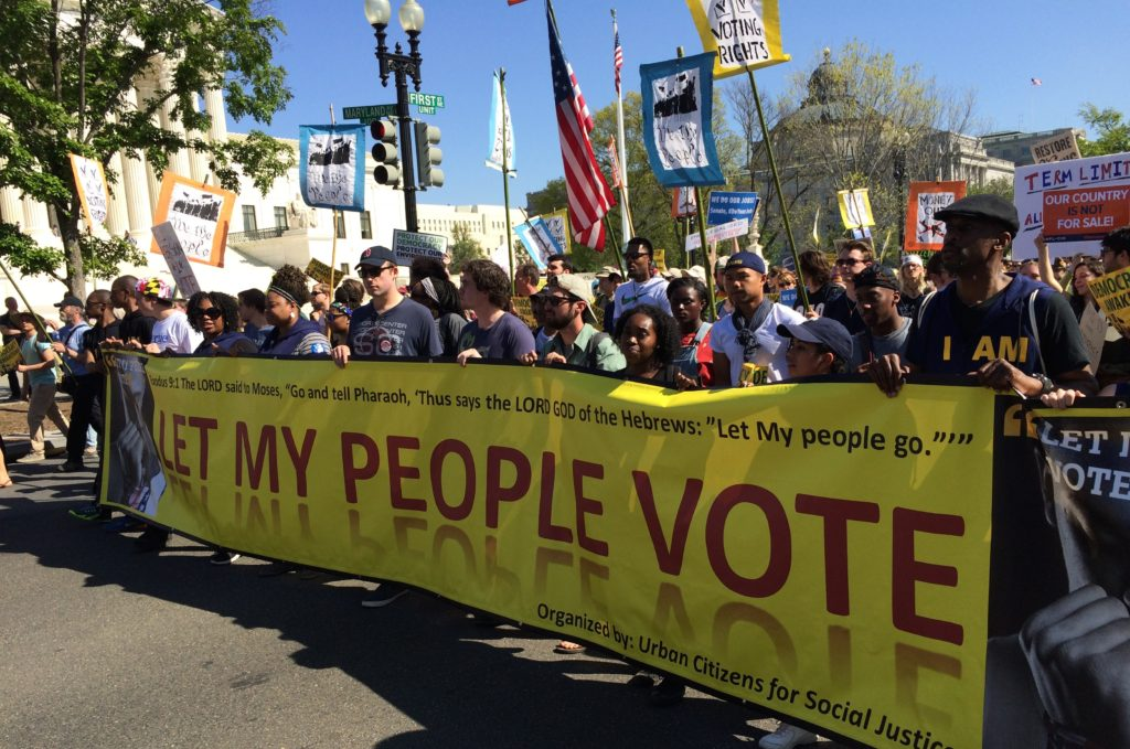 Voting rights advocates march on Capitol Hill in Washington, DC. Image by Hedrick Smith.