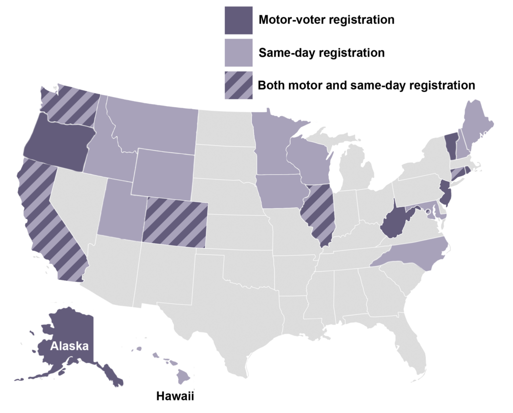 Map of states with motor voting and early voting